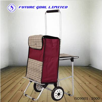 Metal Luggage Cart / Shopping Cart With Chair / Trolley Cart