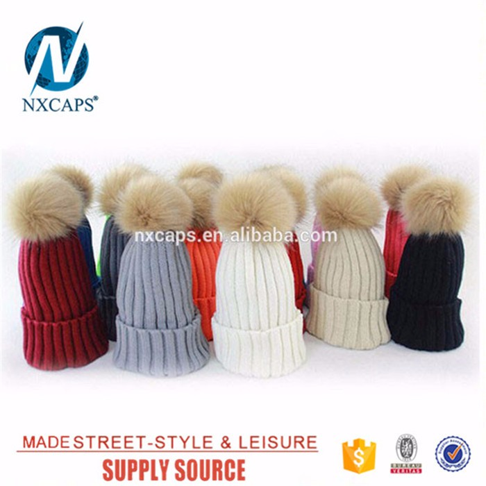 Women Hat Winter Knit Beanie Ski Cap Bobble Hat Faux Fur Pom 15cm Ball