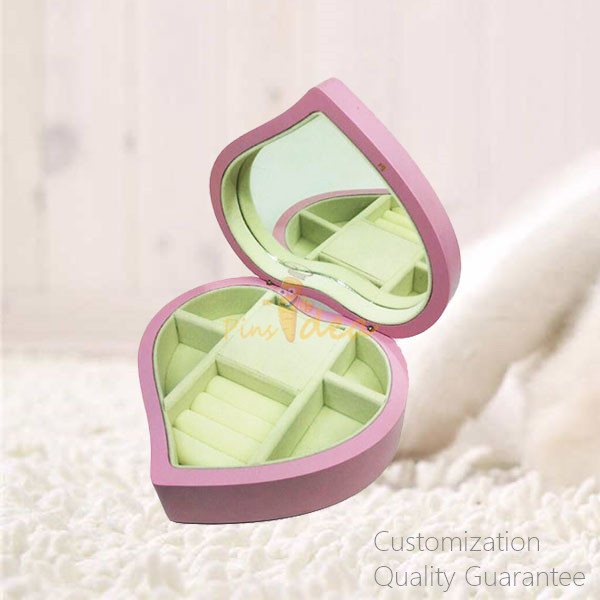 Stylish Good Quality Heart Shaped Matte Pink Women Girls Jewelry Storage Display Chest Box