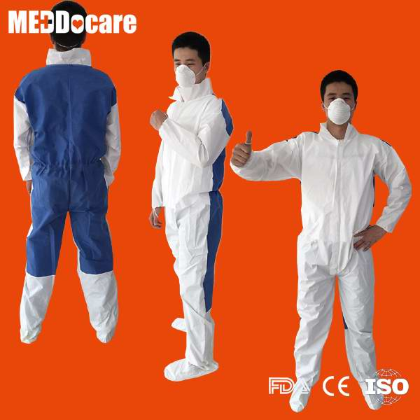 disposable stand collar back breathable zipper type coverall
