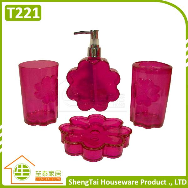 Small MQO Flower Shape New Design Popular Transparent Plastic Bathroom Set