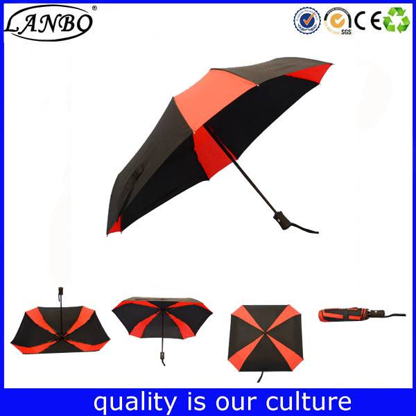 Wholesale red and black umbrella auto open 3 foldbale umbrella