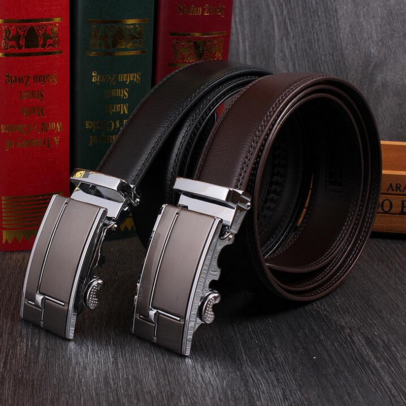 Gentlemen Formal Occasion High Quality Genuine Leather Automatic Buckle Belt