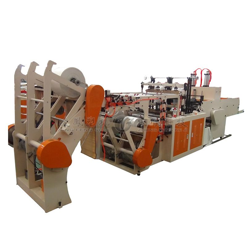 Full-automatic Four-roll Feeder Double Lines Cold Cutting T-shirt Bag Making Machine