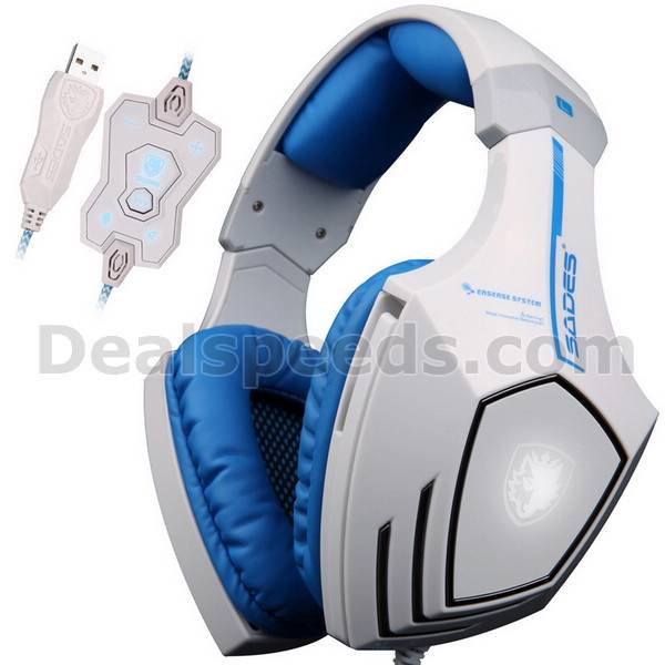 SADES A60 White Computer Game Headphone With Volume Button