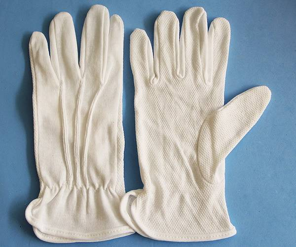 Antislip Working Cotton Gloves With Palm PVC Dotted