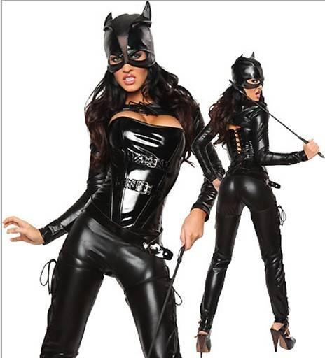 Sexy Hot Faux Leather Cat woman Costume Halloween Superhero Villain Masquerade