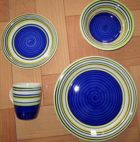 stoneware 16pcs dinnerware sets with line