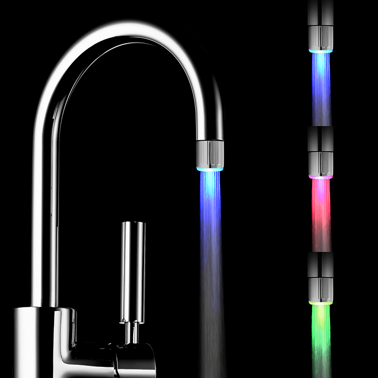 Bathroom Faucet LED Light Waterfall Basin Faucet with Temperature Controlled Colors Change