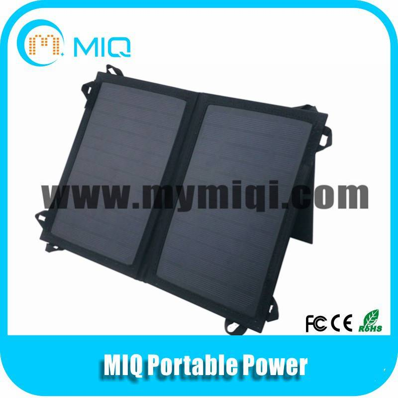 MIQ 5.5V/7W foldable solar panel pack solar cell phone charger with stent