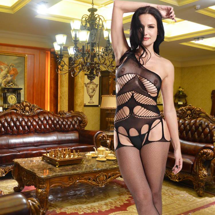 Hot Sexy Net Bodystocking Sexy Lingerie Crotchless One Shoulder Body Stockings