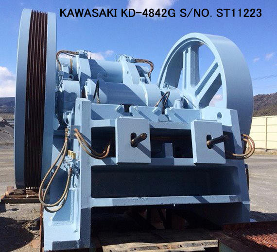 "USED ""KAWASAKI"" MODEL KD-4842G (48"" X 42"") DOUBLE TOGGLE JAW CRUSHER S/NO. ST11223 WITHOUT MOTOR"