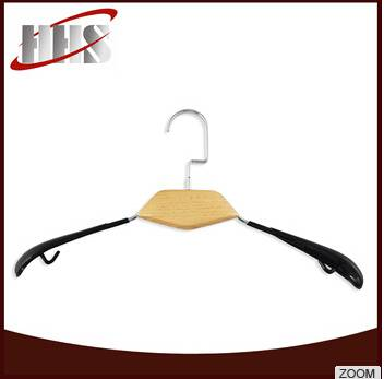 PVC Coated Wooden Hanger With Flat Hook