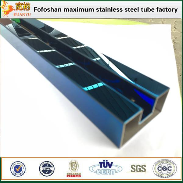 tp316 sapphire glass stainless steel single slot tubes for modern staircase railing