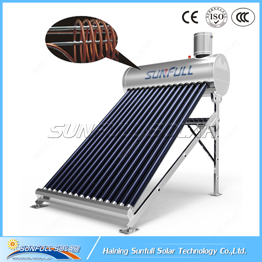 Copper coil pre-heating pressurized stainless steel solar water heater by SUNFULL SOLAR