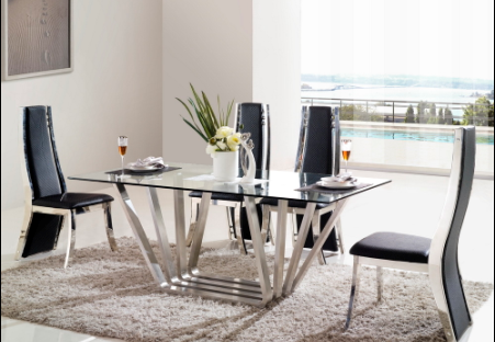 VV SOFA living room furniture stainless steel dining table in Foshan