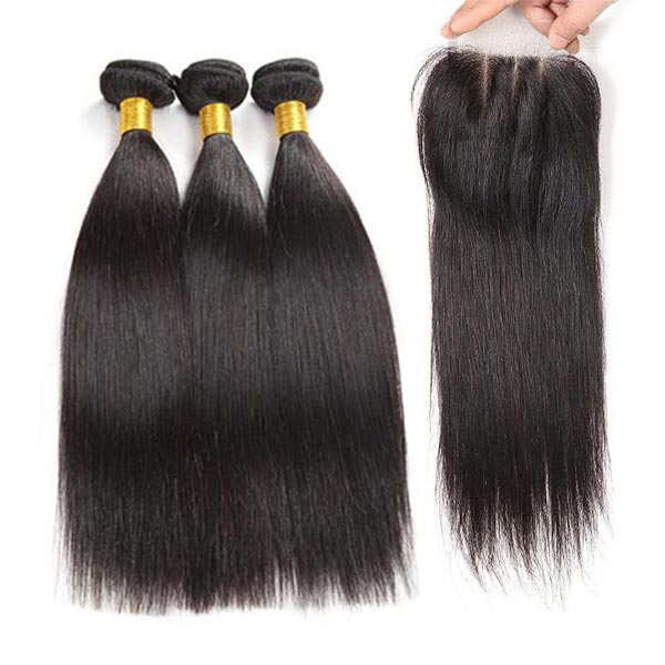 8A Brazilian Straight Human Virgin Hair Weave 3 Bundles With Lace Closure