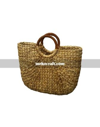 Water hyacinth bag with rattan handles