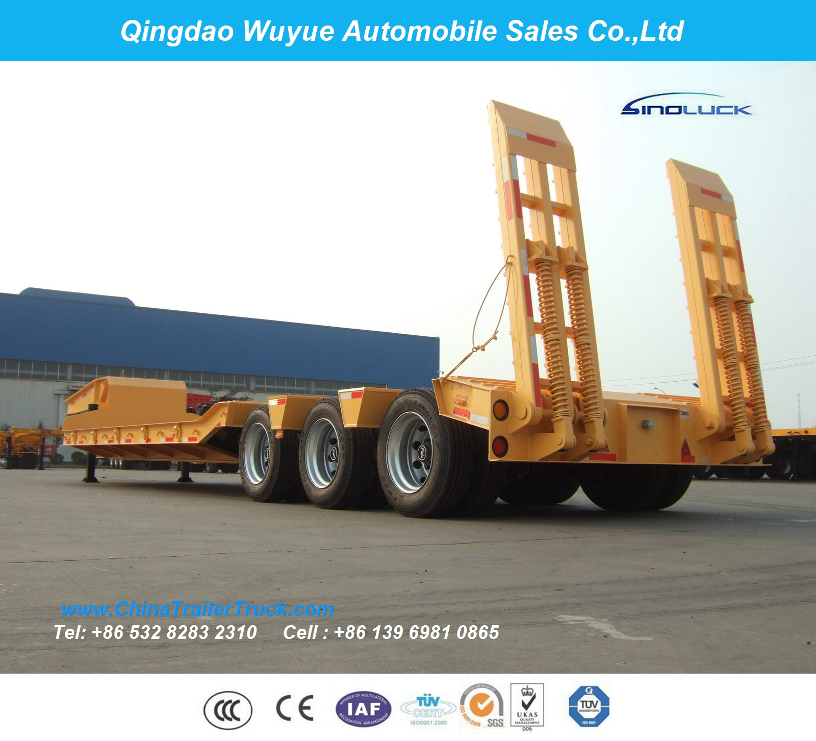 3 Axle 60tons Lowbody Low Bed Semitrailer or Lowbed Semi Truck Trailer