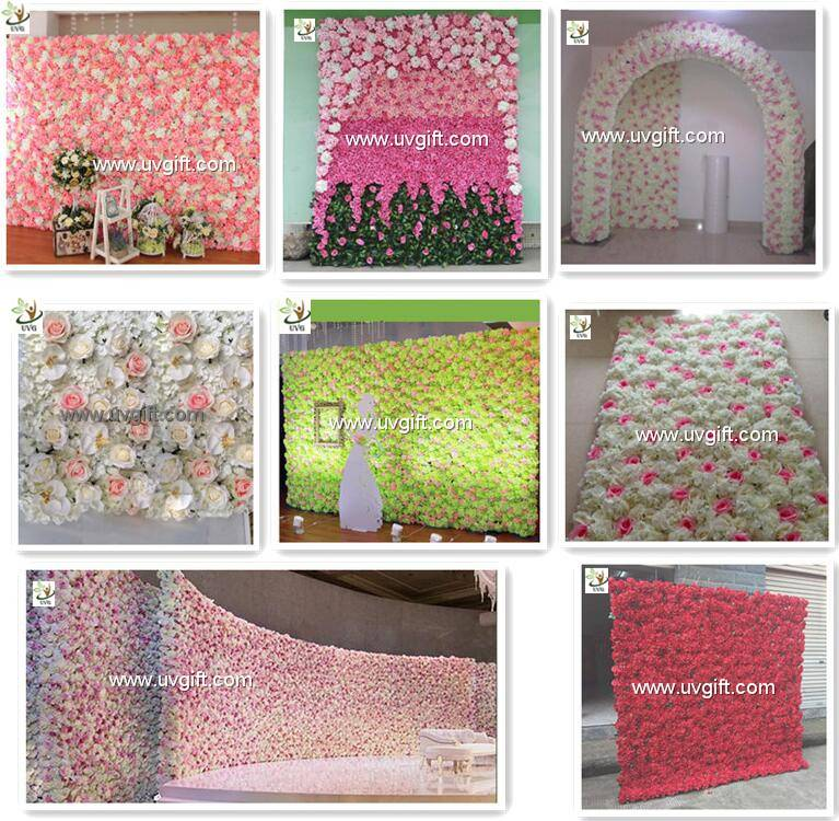 UVG CHR1109 Wedding stage backdrop decoration in artificial rose and hydrangea for flower wall