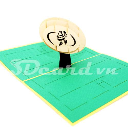 Rugby-Kirigami-Pop up-3D-Laser cut-Paper cutting-Handmade-Sport card
