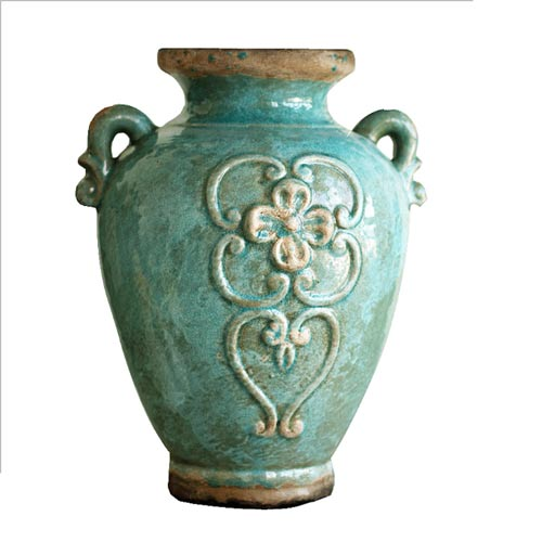 Turquoise Antique Rustic Style Double Handle Ceramic Flower Vase