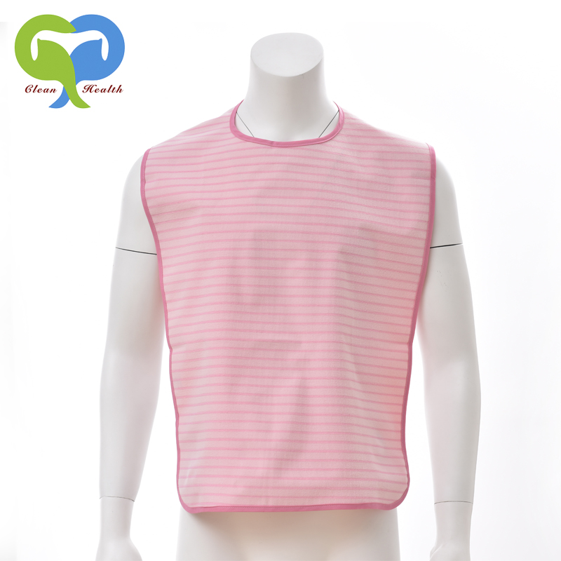 Pink striped adult bib clothing protector yarn-dyed knitting with vinyl coating Normal