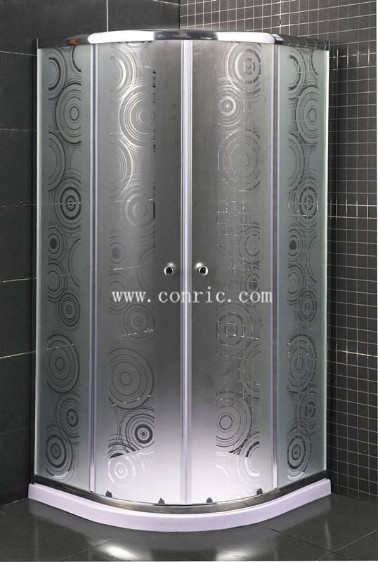 Sliding door shower enclsoure with sector tray