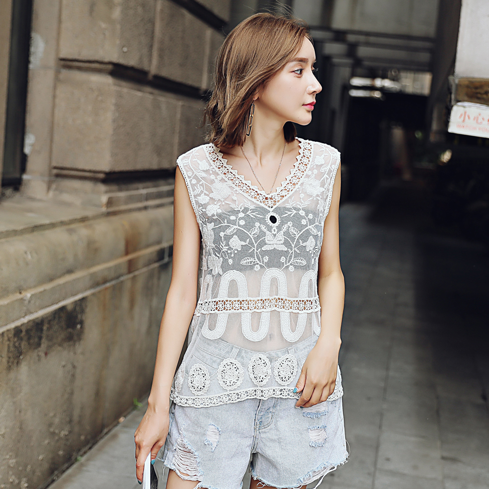 Summer lace embroidery sleeveless jacket female lace computer embroidery ladies wild lace perspectiv