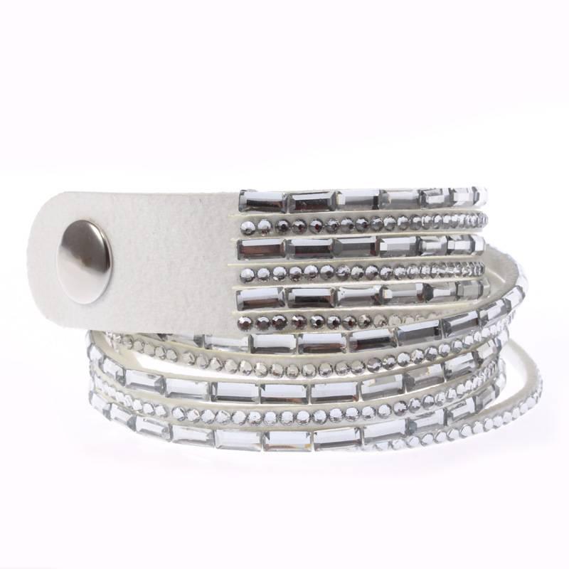 Fashion Women Crystal Leather Bangle Cuff Bracelet