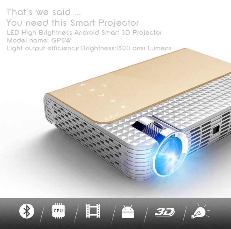 simplebeamer GP5W 3D led Projector 1800 lumens with Android 4.44 OS,wifi Smart projector Bluetooth e