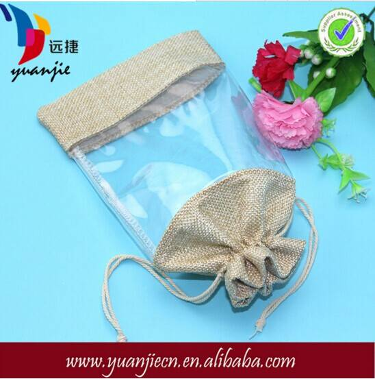 wholesale drawstring burlap jute bag with window