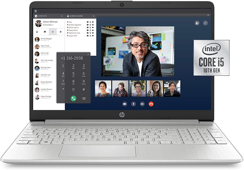 HP 15-inch FHD Laptop, 10th Gen Intel Core i5-1035G1, 8 GB RAM, 256 GB Solid-State Drive, Windows 10