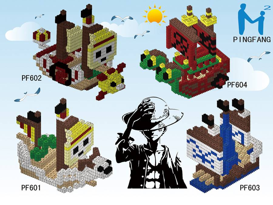 PINGFANG 3D nano block of onepiece pirate boat educational diy toy for children PF601-604