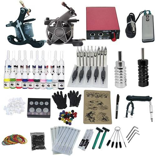 High Quality Complete Tattoo Kit With 2 Tattoo Guns Machine Power Supply Foot Pedal