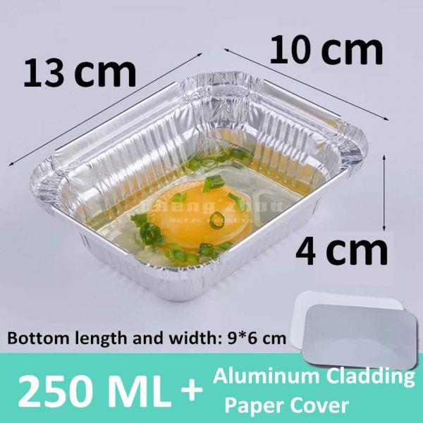 250 ML Aluminum Pans with Aluminum Cladding Paper Cover, Rectangular Aluminum Foil Grill Pans