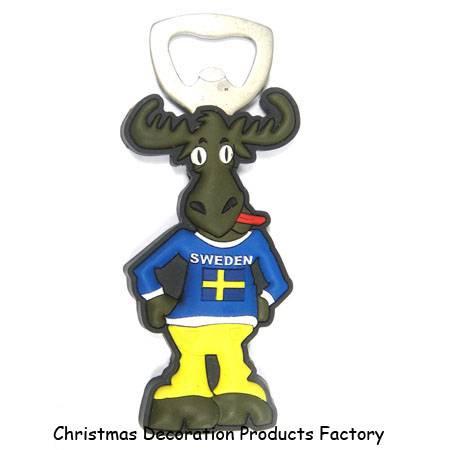 Sweden souvenir 3D soft pvc bottle opener with magnetic