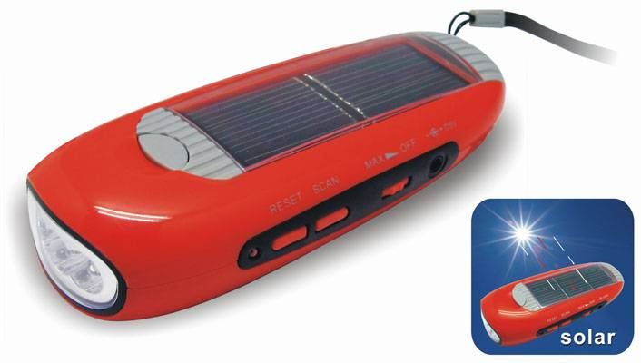 FL-280B Wind-up/Solar Flashlight with Radio & Cellphone Charger