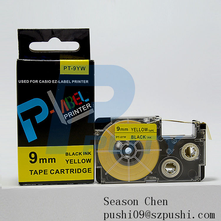 Compatible high quality black on white label cartridge 6mm casio EZ label tapes XR 9WE PT 9WE