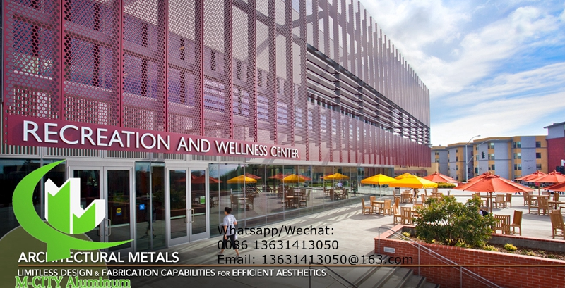 Aluminum hollow perforated panel for facade cladding