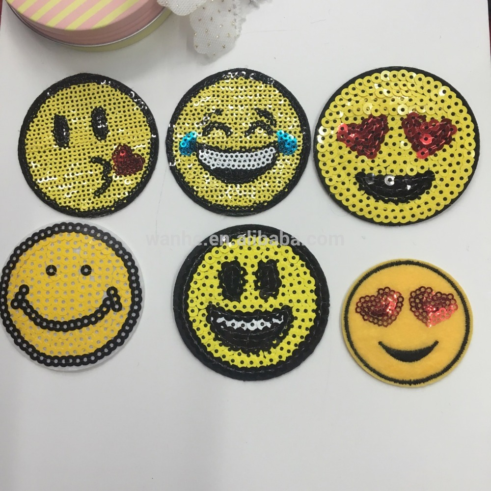 Hot selling smile face sequin sewing patch