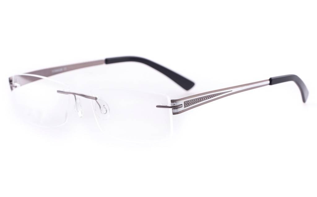 M.Gun S.Silver LT638-1 Rimless Square Titanium Memory Glasses
