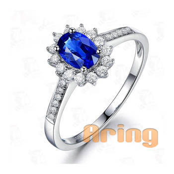 Wholesale 18k Gold Jewelry lab created Sapphire Rings solid gold jewelry
