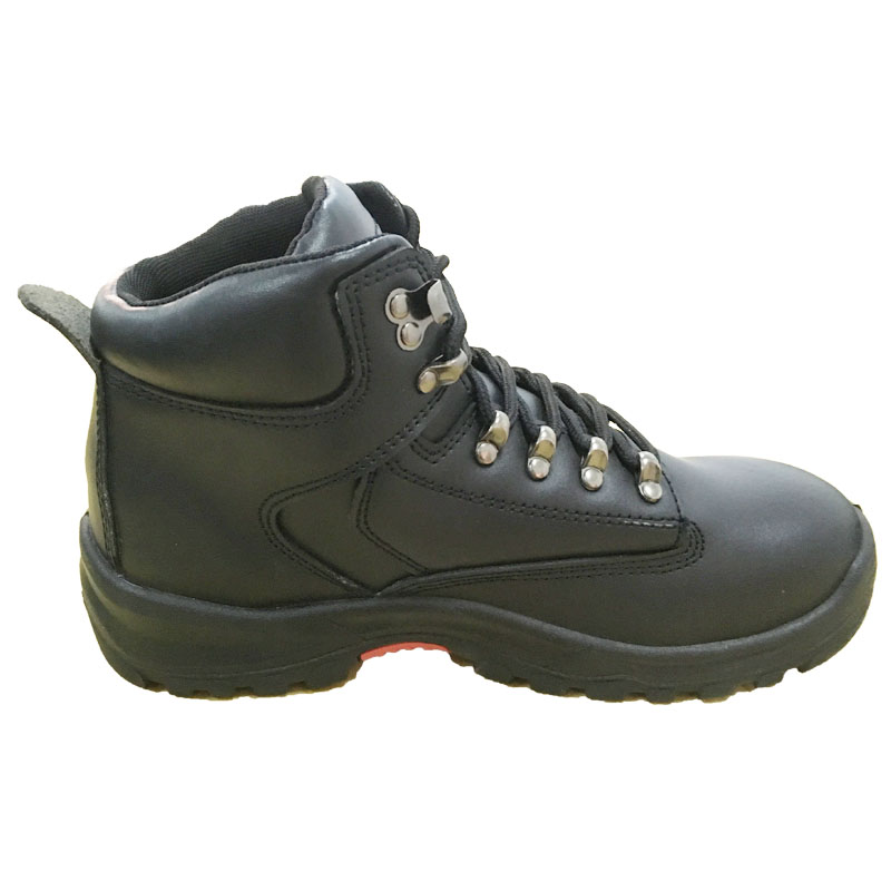New Design Black Genuine Leather Upper Middle Cut Safety Shoes