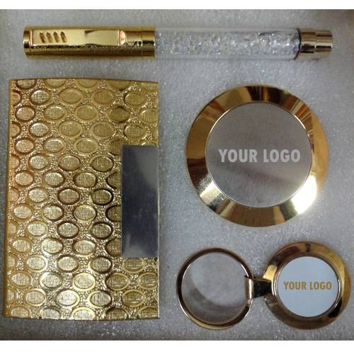 All 24k Gold Plated - Crystal Pen, Visiting Card Holder, Circular Paper Weight and Key Chain - Combo