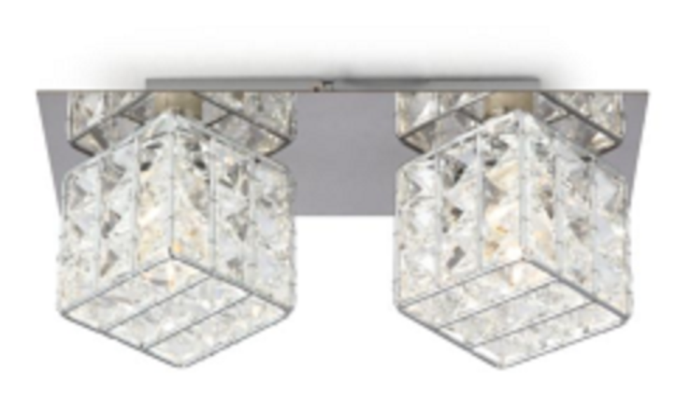 2HEAD G9 IRON SQUARE SHAPE CRYSTAL WALL LIGHT-W58522