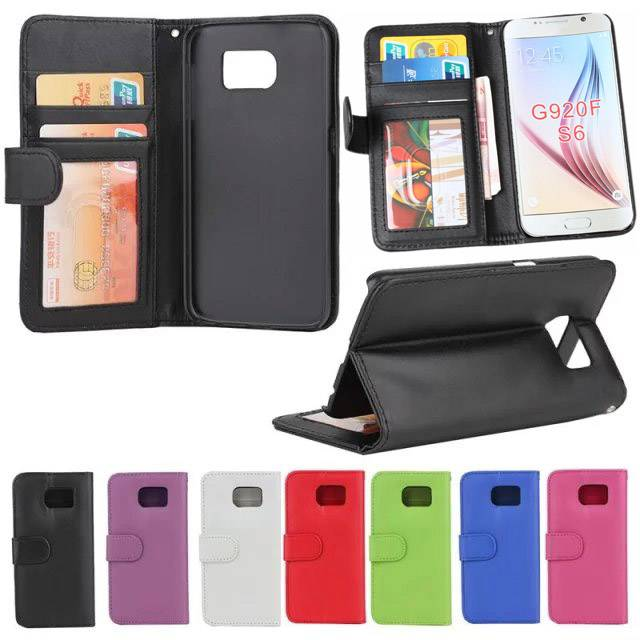 Wallet Leather Case W/ ID Credit Card Holder Pocket PU Filp Stand For Galaxy S6 SGS6C16