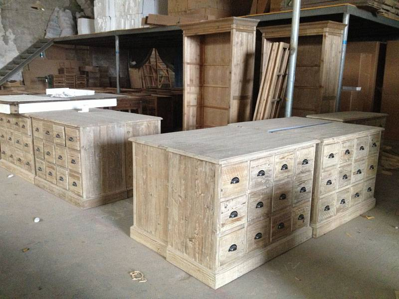 reclaimed pine/fir wood cabinet with 12 drawers