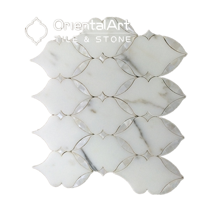 Discount Beauty Bathroom Wall Arts Water Jet Marble Mix Sea Shell Lantern Mosaics Tile
