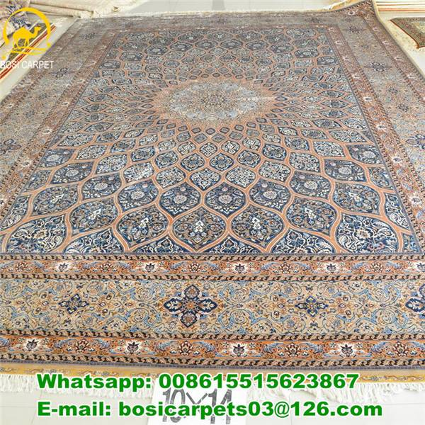 230lines Persian handmade carpet 10x14ft silver with blue silk rugs